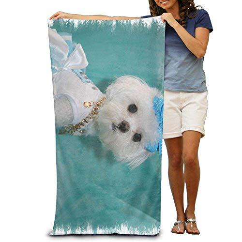 FERNMXZ Strandhandtücher mit süßem Malteser, luxuriös, 100% Polyester, für den Außenbereich, Badetuch, Stranddecke, Abdeckung, Zelt, Boden, Yogamatte, 80 x 135 cm, natürlich weich, schnell trocknend