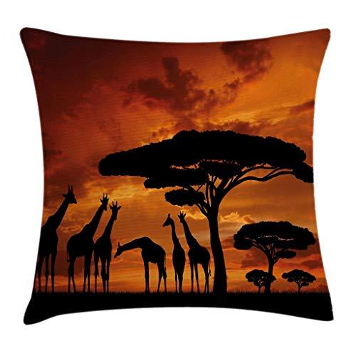 Funda de Cojine África Throw Pillow Cojín, Animal de safari con tripulación de jirafa con árbol al amanecer en Kenia Throw Cojín 45 X 45CM
