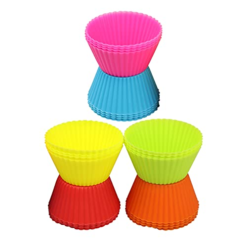 24 Pcs Cupcake Mold,Food Grade Silicone Baking Mould,Reusable Cake Mould, Muffin Mould,Rainbow Mold,for Cake,Kitchen,Party,Wedding