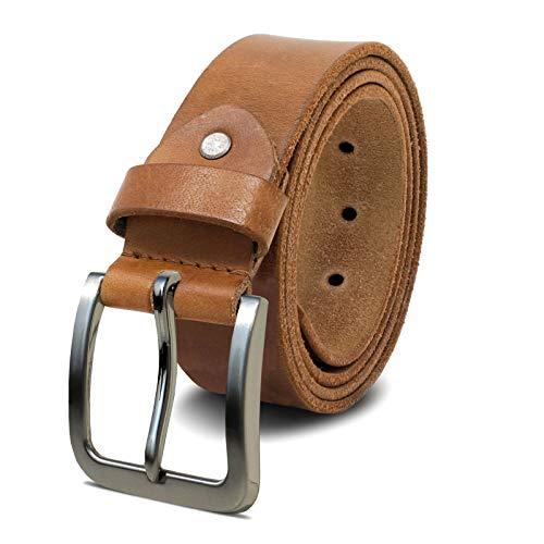 ROYALZ Herren Ledergürtel aus robusten 4 mm Büffel-Leder, Voll-Leder Vintage Gürtel für Jeans Anzug Hose, Größe:110, Farbe:Braun - Schnalle gebürstet