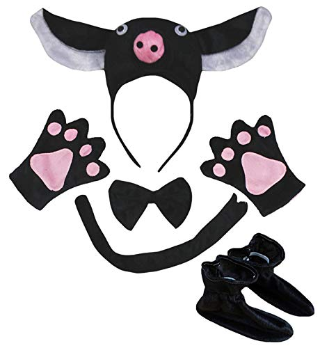 Petitebelle 3D - Diadema de cerdo negro con pajarita y cola de guantes, 5 piezas para disfraz de nio (negro, talla nica)