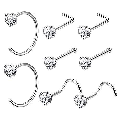 OUFER Body Piercing 8PCS 20G Nose Ring 316L Stainless Steel Nose Hoop Rings Clear CZ Nose Pin Bone Stud L Shape Piercing Jewellery Set Heart