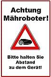 "Cartell per a robot tallagespa (20 x 30 cm), disseny amb text en alemany ""*Bitte *halten *Sie *Abstand *zu *dem *Gerät"""