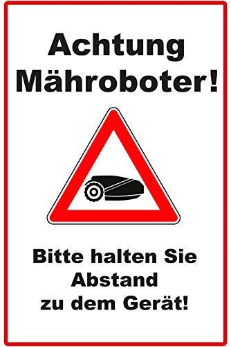 Achtung Mähroboter Schild | 20 x 30 cm | Bitte halten Sie Abstand zu dem Gerät | Hinweisschild 3mm stark | stabile Hartschaumplatte