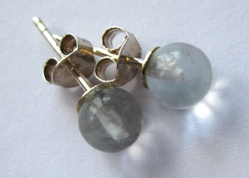 Piedras preciosas-Pendientes, redondo 6 mm, 925 plata Fluorita claro