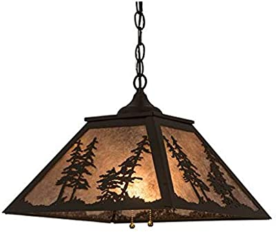 Meyda Tiffany 21017 Tiffany/Mica Two Light Pendant from Tall Pines Collection Dark Finish, 16.00 inches, Timeless Bronze