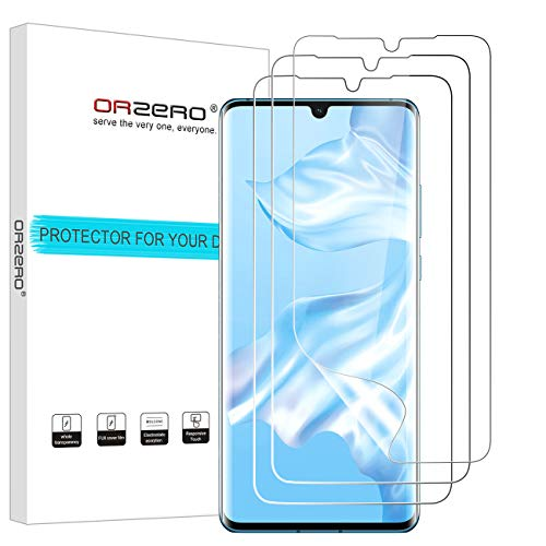 (3 Pack) Orzero Compatible for Huawei (P30 Pro) (Premium Quality) Edge to Edge (Case Friendly) Screen Protector, High Definition Anti-Scratch Bubble-Free (Lifetime Replacement)