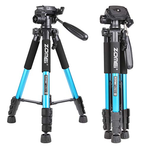 ZOMEI 55' Lightweight Compact Travel Portable Camera Tripod for Canon Nikon Sony DSLR Camera Video with Carrying Bag(Blue)