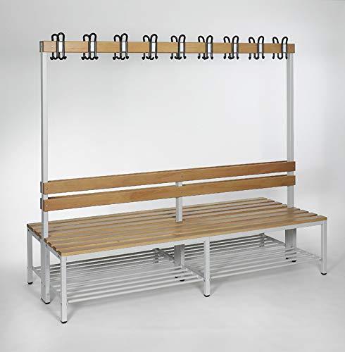 furni24 Umkleidebank Sitzbank Garderobenbank Sportraum Bank mit Echtholz für Fitnessstudio (2-seitig) doppelseitig mit Garderobenhaken und Schuhrost 200 cm x 170 cm x 85 cm