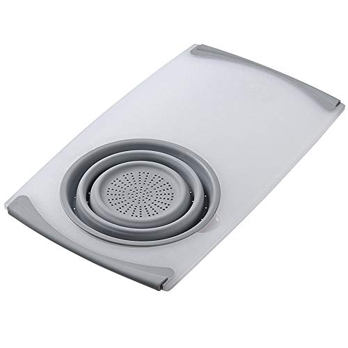 TYM Multifunctional Sink Cutting Board, Non-Slip Retractable Cutting Board for Home Kitchen, with Drain Basket, Suitable for Home and Kitchen. Gray