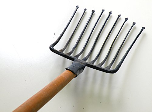 Ergonomic 9 Tines Forged Pitch Fork,Professional Welded Bedding Fork ,Forged Ensilage Manue Fork-Heavy Duty Long Hardwood Handle , 60-Inch Over Overall in Length.(47' Wood Handle).