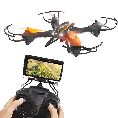 2.4GHz Wireless Predator Quadcopter Drone with Camera - WiFi 4 Channel FPV, 6-Gyro RC Quadcopter w/HD Camera, Live Video, Headless Mode Function, Low Voltage Alarm, VR Headset-Compatible - SereneLife