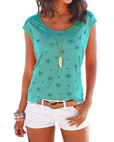 YOINS T-Shirt Damen Shirt Oberteile Sexy Oberteil für Damen Tops Sommer Einfarbig Ärmellos Rundhals mit Sterne Neu-Grün S