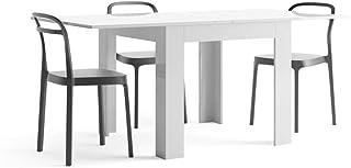 Mobili Fiver, Table Extensible, Eldorado, Blanc laqué Brillant, 90 x 90 x 79 cm, Made in Italy