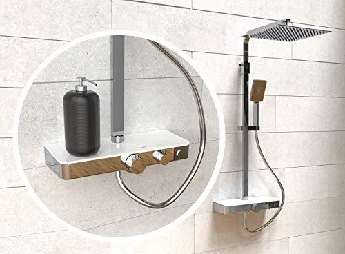 SCHÜTTE OCEAN Duschsystem mit Thermostat und Glasablage-Duschset mit 30x30cm, Regendusche mit Wandhalterung und Duschkopf-Duschpaneel Duschsäule in Chrom/Weiß 60530