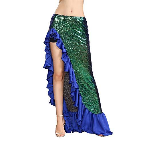 ROYAL SMEELA Falda Danza del Vientre Falda Largas Flamenca Disfraces Sexys Mujer Vestidos Largos Traje Danza Lentejuelas gradiente Faldas Volantes asimétrico con Leggings