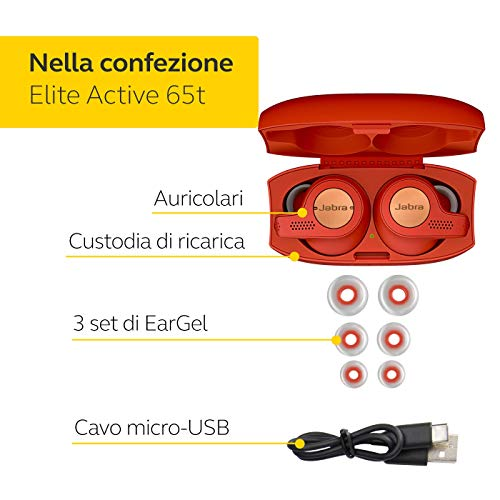 Jabra Elite Active 65t Cuffie Auricolari True Wireless, In-Ear, Bluetooth 5.0 con Custodia di Ricarica e Accesso One-Touch ad Alexa, Sport, Rosso/Rame