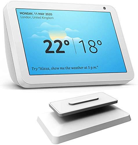 Ousyaah Echo Show 8 Ständer, Echo Show 8 Verstellbarer Ständer, 360 Grad drehbare Echo Spot-Montagehalterung mit Magnetfuß (Weiß)