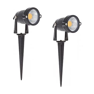 Super Bright Outdoor LED Decorative Spotlight Lighting 7W COB LED Landscape Garden Wall Yard Path Lawn Light Spiked Stand DC 12V Power Pack of 2