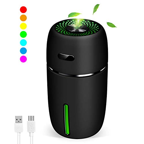 MZTDYTL Portable Mini USB Humidifier, 200ml Ultrasonic Cool Mist Humidifier with 7 Colors Light Changing for Bedroom Home Office Travel,Auto Shut-Off, Super Quiet Operation (Black)