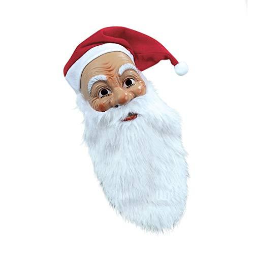 NET TOYS Masque de Père Noël avec Barbe touffue et Bonnet Visage de Santa Klaus Saint-Nicolas Masque de Nativité Santa Carnaval déguisement