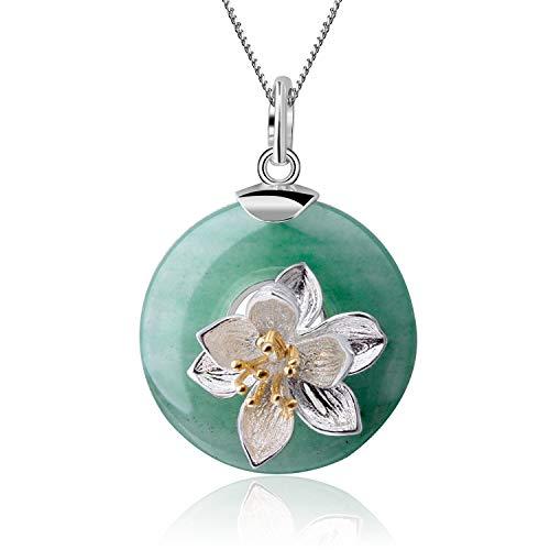 Regalo para Navidad JIANGYUYAN S925 Colgante de plata esterlina Lotus Whispering Gemstone Colgante Aventurina natural Joyas hechas a mano para mujeres y niñas(Green)