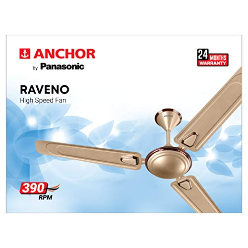 Anchor By Panasonic 14077HGB Ceiling Fan Raveno Without Regulator - 1200mm - Honey Gold Briken (Speed- 390 RPM)