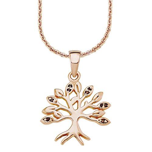 s.Oliver Damen-Kette 45 cm mit Anhänger Baum 925 Sterling Silber rosévergoldet Zirkonia braun