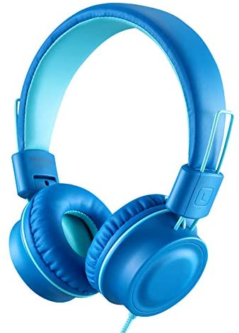 iRAG J01 Kids Headphones Foldable Stereo Tangle-Free 5ft Long Cord 3.5mm Jack Plug in Wired On-Ear Headset for iPad/Amazon Kindle,Fire/Toddler/Boys/Girls/School/Laptop/Travel/Plane/Tablet(Ocean Blue)