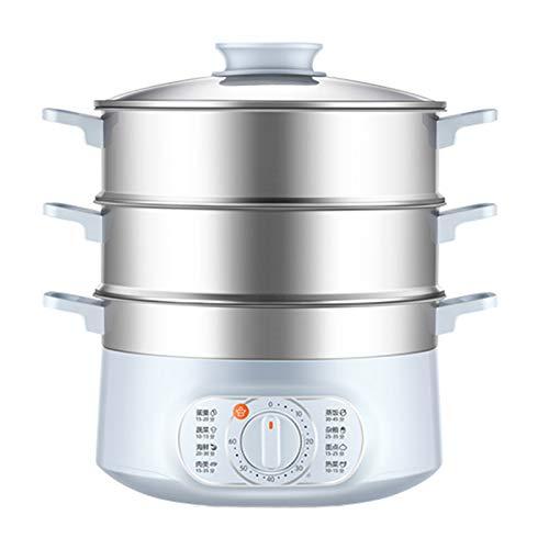 HSART Dampfgarer, Dampfgarer mit 3 Mülltonnen mit Verstellbarer LED Temperatur und Zeit Display, 13 l BPA-freie Dampfgarer gesundes Gemüse, Fleisch, Eier und Reis, 1500 W