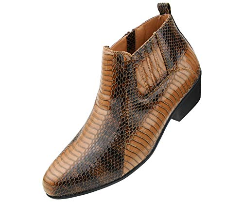 Bolano The Original Men's Exotic Demi Dress Boot in Faux Snake Print Pattern, Style Adder Cognac