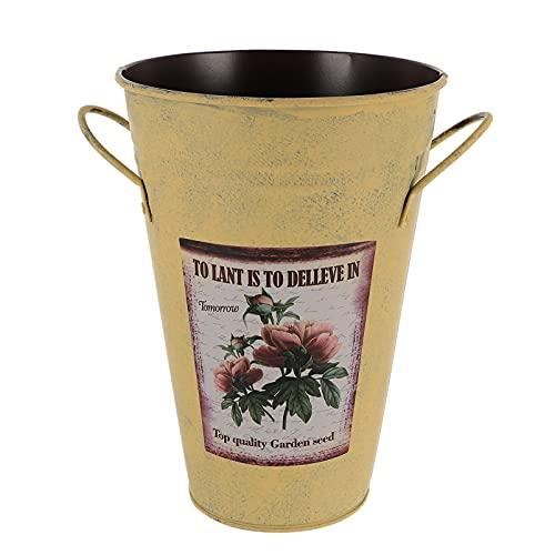 Holibanna Cubo de Flores Paraguas Soporte Francés País Vintage Estilo Florero de Metal Granja Balde Artístico Olla Cubo Centro de Mesa Florero Titular de