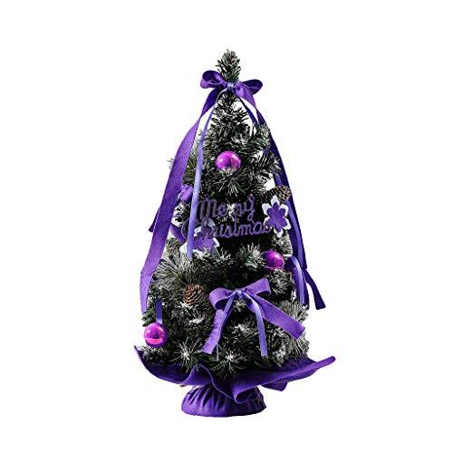 VNEIRW Mini Weihnachtsbaum mit LED und Bogen,Beleuchten Tannenbaum,batteriebetrieben - Tolles Geschenk für Kinder Freund,30cm (Lila)