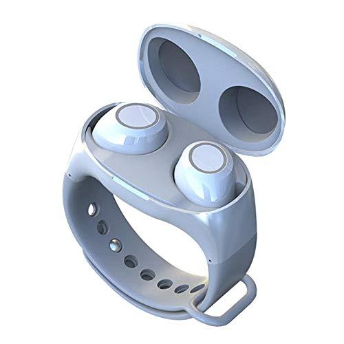 Non-brand Auriculares Bluetooth 5.0 Usables 2 en 1 Auriculares con Diseño de Pulsera Auriculares Internos - Blanco