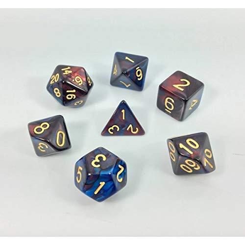 Juego de Dados poliédricos HD D&D para Dungeon y Dragons RPG Juego de rol MTG Pathfinder Juego de Mesa de 7 Dados (Rojo + Azul) Mezcla de Color de Dados