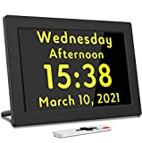 Véfaîî Digital Alarm Clock Day Date Calendar for School Kids Students, Working from Home, Seniors with Dementia or Alzheimers, with Remote Controller