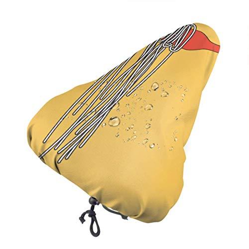 Asiento Infantil para Bicicleta Cubierta de Lluvia Comida de Fideos en Palillos Cubierta de sillín de Bicicleta Fundas de Asiento para Mujeres con cordón, Resistente a la Lluvia y al Polvo par