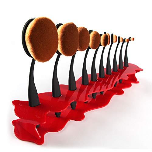 Porte-pinceau de maquillage Outil de support de rack de stockage de rack de stockage de support de brosse de maquillage carré de 10 trous Séchoir (Couleur : Rouge)