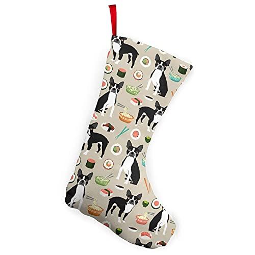 Boxer Sushi Perro Lindo Japonés Mejores Palillos Medias Temáticas Navidad Calcetines Ornamento 10 pulgadas Decoración de una pieza Adultos Niños Escaleras Pared Blanco 17