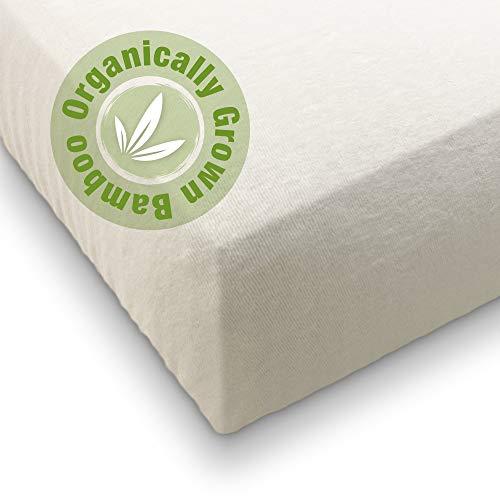 Sábana bajera ajustable para cuna (63 x 126) 70% bambú cultivado orgánicamente, 30% algodón, ultra suave, ecológica, biodegradable, artículos esenciales para recién nacidos (medianos)