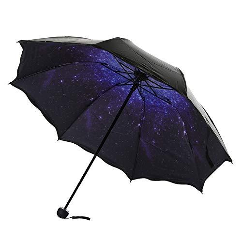 Venta caliente Paraguas ligero de viaje con tres plegables Paraguas automáticos a prueba de viento Protección contra la lluvia y el sol Parasol Sombrillas-Azul, Estados Unidos