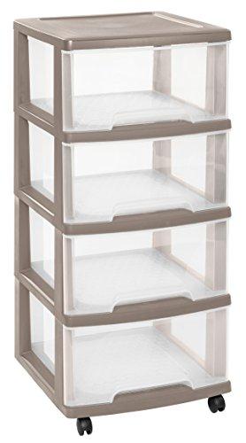 CURVER | Tour de rangement Essentials 4 Tiroirs 20L, Taupe, 37,1 x 38,9 x 86 cm, Plastique