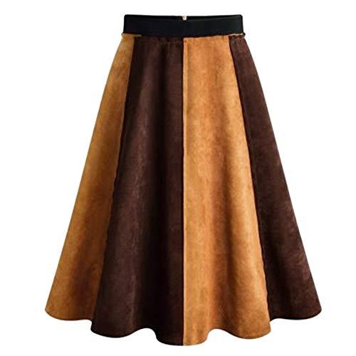 A lijn rok dames knielange midirok van suède rok vouwrok modieuze bordenrok jaren 50 vintage rok met hoge taille (kleur: bruin, maat: XL)