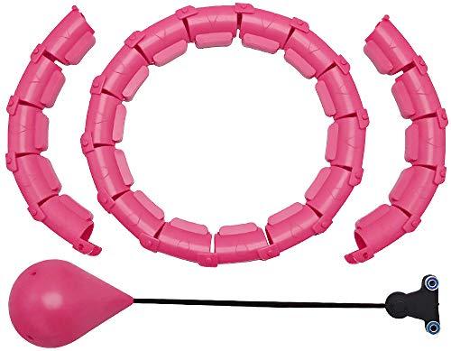 Aro de Hula Inteligente con Bola, Speyang Hula Fitness Hoop Aro de Masaje para Neumáticos Que No Se Cae, 2 en 1 Abdomen Fitness Masaje, 24 Nudos Extraíbles, Peso Ajustable Aartefacto de Pérdida
