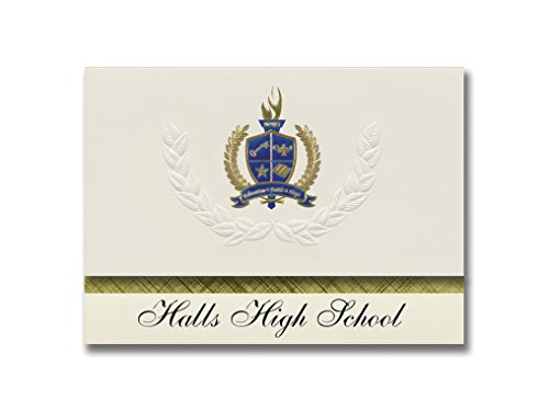 Signature Announcements Halls High School (Knoxville, TN) Graduation Ankündigung, Presidential Style, Elite Paket mit 25 Stück mit Gold & Blau Metallic Folien-Siegel