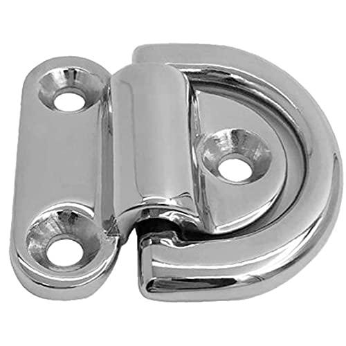 Folding Pad Eye Edelstahl Folding Pad Eye Deck Zurren D-Ring für Trailer Boot Caravan Silber, Ordentlichkeit