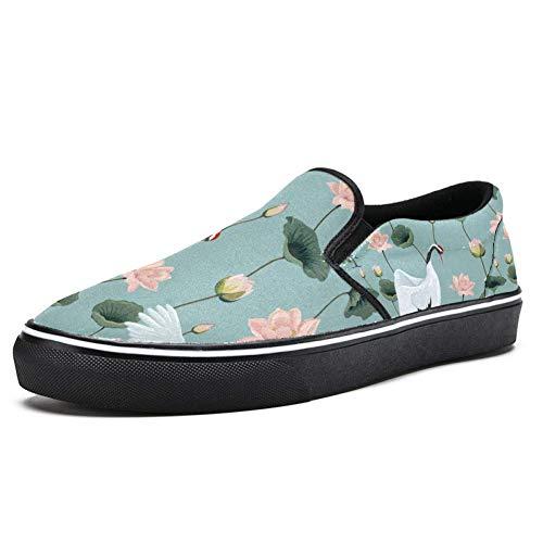 TIZORAX Japanische Kraniche im Lotus-Teich Slipper Loafer Schuhe für Herren Jungen Fashion Canvas Flacher Bootsschuh, Mehrfarbig - mehrfarbig - Größe: 39 EU