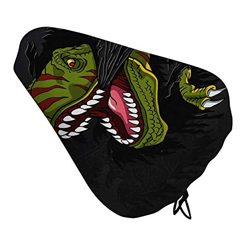 NIKIMI Bicycle Seat Cover Cool T-rex Dinosaur Mountain Biking Durable Polyester Washable Bicycle Protective Saddle Cover for Child