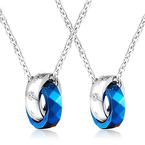 Beydodo Collares Parejas Acero Inoxidable Doble Anillos Circonita Blanca Collares Azul