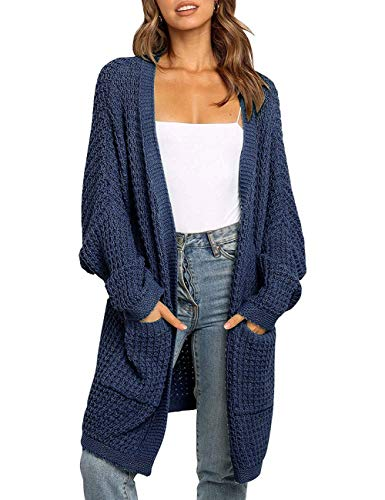 MEROKEETY Women's Oversized Long Batwing Sleeve Cardigan Waffle Knit Sweater Coat, Navy, XL